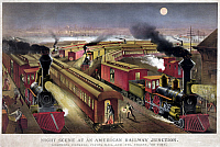 0265818 © Granger - Historical Picture ArchiveRAILROAD JUNCTION, c1876.   'Night scene at an American railway junction. Lightning Express, Flying Mail, and Owl Trains, 'on time.'' Chromolithograph by Currier & Ives, c1876.