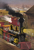 0265822 © Granger - Historical Picture ArchiveRAILROAD JUNCTION, c1876.   'Night scene at an American railway junction. Lightning Express, Flying Mail, and Owl Trains, 'on time.'' Detail of a chromolithograph by Currier & Ives, c1876.