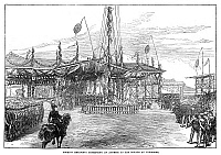 0268021 © Granger - Historical Picture ArchiveJAPAN: FIRST RAILWAY, 1872.   Foreign residents present an address to the Emperor of Japan at Yokohama, on the occasion of the opening of the first railway in Japan, which ran between Tokyo and Yokohama, 1872. Contemporary English engraving.