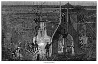 0268428 © Granger - Historical Picture ArchiveLOCOMOTIVE FACTORY, 1864.   Steam hammer at the locomotive factory at Newcastle-On-Tyne, England. Wood engraving, English, 1864.
