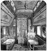 0268550 © Granger - Historical Picture ArchiveDRAWING-ROOM CAR, 1869.   A drawing-room car of the Union Pacific Railroad. Wood engraving, English, 1869.