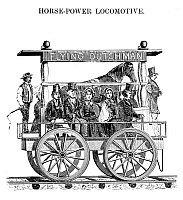 0322518 © Granger - Historical Picture ArchiveHORSE-POWERED LOCOMOTIVE.   A horse-powered locomotive invented by C.E. Detmold for the South Carolina Railroad, 1829. Contemporary American wood engraving.