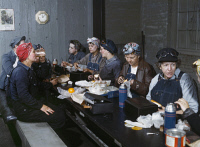 0352751 © Granger - Historical Picture ArchiveRAILROAD WORKER, 1943.   Women workers at the Chicago and North Western railroad on their lunch break in Clinton, Iowa. Photograph by Jack Delano, May 1943.