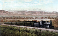 0623167 © Granger - Historical Picture ArchiveCOLORADO: RAILROAD, c1900.   The Chicago Special on the Burlington Route in Colorado. Photochrom by William Henry Jackson, c1900.