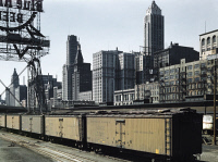 0623187 © Granger - Historical Picture ArchiveCHICAGO: RAILROAD TERMINAL.   The South Water Street Illinois Central Railroad freight terminal in Chicago, Illinois. Photograph by Jack Delano, 1943.