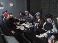 0623190 © Granger - Historical Picture ArchiveRAILROAD WORKERS, 1943.   Women railroad workers for the Chicago and North Western Railway Company, having lunch in the break room of the roundhouse in Clinton, Iowa. Photograph by Jack Delano, 1943.