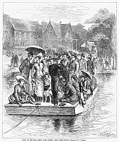 0089388 © Granger - Historical Picture ArchiveOCEAN GROVE FERRY, 1878.   Vacationers at Ocean Grove on the New Jersey coast cross Wesley Lake standing on a flatbottomed ferry pulled by cables. Wood engraving after W.A. Rogers, 1878.