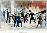 0000631 © Granger - Historical Picture ArchivePRINCETON EXPLOSION, 1844.   The explosion of the 'Peace-Maker' on board the U.S. steam frigate 'Princeton,' 28 February 1844, which took the lives of Secretary of State Abel P. Upshur, Secretary of the Navy Thomas Gilmer, and three others. Lithograph, 1844, by Nathaniel Currier.