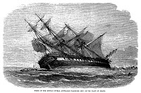 0013004 © Granger - Historical Picture ArchiveSHIPWRECK, 1865.   Wreck of the Duncan Dunbar, Australian passenger ship, on the coast of Brazil. Wood engraving, English, 1865.