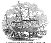0039880 © Granger - Historical Picture ArchiveCLIPPER SHIP, 1851.   The Boston-built clipper ship 'Flying Cloud,' loading at her wharf in New York. Wood engraving, 1851.