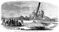0052582 © Granger - Historical Picture ArchiveSTATEN ISLAND FERRY, 1856.   Sinking of the Staten Island steam ferry boat 'Columbus' in New York Harbor, January 1856. Wood engraving from a contemporary American newspaper.