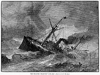 0056430 © Granger - Historical Picture ArchiveSTEAMSHIP ACCIDENT, 1881.   The British steamer 'Roraima' aground on the New Jersey coast. Wood engraving, American, 1881.