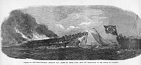 0063960 © Granger - Historical Picture ArchiveSHIPWRECK: OCEAN MONARCH.   An accidental fire consumes the American packet ship 'Ocean Monarch,' as 'Queen of the Ocean,' a Brazilian naval steam frigate (right) attempts to rescue survivors, 24 August 1848. Wood engraving, English, 1848.