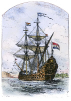 0077172 © Granger - Historical Picture ArchiveTHE NEW NETHERLAND, 1623.   The ship 'New Netherland', which in 1623 brought the first Dutch settlers to the Hudson River and to Delaware. Wood engraving, American, 1898.