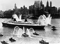 0126938 © Granger - Historical Picture ArchiveOCEAN LINER: FRANCE, 1962.   French Line's SS France arriving in New York Harbor on its maiden voyage in 1962.