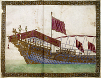 0129675 © Granger - Historical Picture ArchiveLOUIS XIV: YACHT.   The royal yacht of King Louis XIV of France, late 17th century. Manuscript illumination.