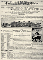 0163096 © Granger - Historical Picture ArchiveTITANIC HEADLINE, 1912.   Front page of the Los Angeles Times, 16 April 1912, reporting on the sinking the previous day of the White Star liner 'Titanic,' following its collision with an iceberg in the North Atlantic.