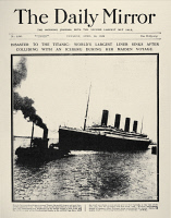 0163098 © Granger - Historical Picture ArchiveTITANIC HEADLINE, 1912.   Front page of The Daily Mirror, 16 April 1912, reporting on the sinking the previous day of the White Star liner 'Titanic,' following its collision with an iceberg in the North Atlantic.