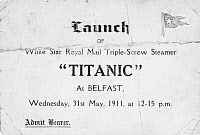 0163099 © Granger - Historical Picture ArchiveTITANIC: LAUNCH, 1911.   Invitation to the launch of the Titanic at Belfast, 21 May 1911.