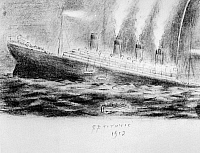 0183551 © Granger - Historical Picture ArchiveTITANIC SINKING, 1912.   The sinking of the Titanic during the night of 14-15 April 1912. Drawing by survivor Leo Jones Hyland, a steward on the Titanic.