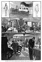 0265170 © Granger - Historical Picture ArchiveSTEAMBOAT, 1880.   Scenes on board the American steamer, 'Indiana.' Engraving, American, 1880.