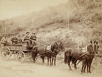 0108549 © Granger - Historical Picture ArchiveWELLS FARGO & COMPANY.   A Wells Fargo & Company Express Deadwood treasure wagon and guards, carrying $250,000 in gold from the Great Homestake Mine in Deadwood, South Dakota. Photograph by John Grabill, 1890.