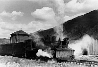 0121623 © Granger - Historical Picture ArchiveLOCOMOTIVE, 1940.   Locomotive with a snowplow attached to the front of a narrow gauge railroad train, Telluride, Colorado. Photograph by Russell Lee, September 1940.