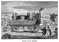 0267104 © Granger - Historical Picture ArchiveSTEAM CARRIAGE.   'Steam versus Horses.' English caricature comparing the ease of steam-powered transportation to the labor of driving a horse-drawn carriage. Engraving, 19th century