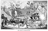 0267106 © Granger - Historical Picture ArchiveTRANSPORTATION CARTOON.   'The Perils of Steam-Coaches.' English cartoon showing an explosion caused by a steam carriage, 19th century.