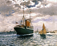 0038891 © Granger - Historical Picture ArchiveIMMIGRANT SHIP, 1893.   German steamer, 'Furst Bismarck' at entrance to New York Harbor. Oil, 1893, by Themistocles v. Eckenbrecher.