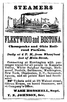 0043293 © Granger - Historical Picture ArchiveSTEAMBOAT ADVERTISEMENT.   Advertisement, c1870, for Chesapeake & Ohio Railroad packet steamers.