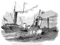 0051781 © Granger - Historical Picture ArchiveSHIPWRECK: COLLISION 1852.   Collision between the 'Duchess of Kent' and the 'Ravensbourne,' off Northfleet Point. Wood engraving, 1852.