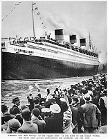 0088686 © Granger - Historical Picture ArchiveOCEAN LINER 'QUEEN MARY.'   The Cunard liner leaving the Ocean Dock at Southampton, England, on her maiden voyage to New York, 27 May 1934. Photograph from a contemporary English newspaper.