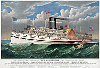 0119732 © Granger - Historical Picture ArchiveSTEAMBOAT: PILGRIM, c1883.   The grand steamboat 'Pilgrim,' the largest in the world at the time of completion. The flagship of the Fall River line, running from New York and Boston via Newport and Fall River. Lithograph, c1883 by Currier & Ives.