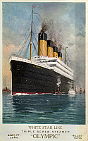 0119749 © Granger - Historical Picture ArchiveRMS OLYMPIC, 1911.   The RMS 'Olympic' ocean liner at sea. The ship was built for the White Star Line, which also included Titanic and Britannic. Unlike her sisters, Olympic served a long and illustrious career (1911 to 1935), becoming known as 'Old Reliable.' Photochrome, c1910-1915.