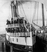 0119759 © Granger - Historical Picture ArchiveSTEAMBOAT, c1898.   The steamboat 'Rosalie' leaving Seattle for the Klondike. Stereograph, c1898.