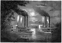 0119762 © Granger - Historical Picture ArchiveMISSISSIPPI RIVER.   Two steamboats on the upper Mississippi river. Lithograph, c1860-1870.