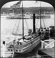 0119772 © Granger - Historical Picture ArchiveSTEAMBOATS, c1909.   The 'Clermont' and the Albany Day Line steamer ferry during the Hudson-Fulton Celebration on the Hudson River, New York. Stereograph, c1909.