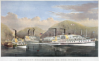0119773 © Granger - Historical Picture ArchiveHUDSON RIVER STEAMSHIPS.   'American steamboats on the Hudson.' Lithograph, 1874, by Currier & Ives.