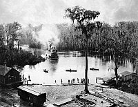 0176675 © Granger - Historical Picture ArchiveFLORIDA: STEAMBOAT, 1886.   A steamboat landing at the railroad station, Silver Springs, Florida. Photograph by George Barker, 1886.