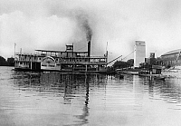 0176677 © Granger - Historical Picture ArchiveILLINOIS: STEAMBOAT.   Lasalle and Peoria packet boat 'David Swain,' at a landing at Chillicothe, Illinois. Photograph, late 19th century.