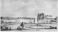 0259417 © Granger - Historical Picture ArchiveRARITAN RIVER, 1809.   Robert Fulton's steamboat on the Raritan River in Perth Amboy, New Jersey. Drawing by Baroness Anne Marguerite Henriette Hyde de Neuville, 1809.