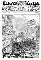 0088661 © Granger - Historical Picture ArchiveELEVATED RAILROAD, 1878.   New York elevated railroad on Broadway at Franklin Square. Wood engraving, American, 1878.