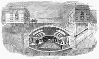 0089477 © Granger - Historical Picture ArchiveUNDERGROUND RAILWAY, 1860.   The proposed station at Baker Street in London's new underground railway system system. Wood engraving, English, 1860.