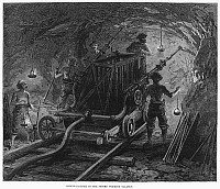 0089403 © Granger - Historical Picture ArchiveMONT CENIS TUNNEL, 1869.   Men with boring machine working on the Mont Cenis railway tunnel in the Alps between France and Italy.  Wood engraving, English, 1869