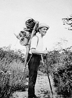 0082047 © Granger - Historical Picture ArchiveHARRY A. FRANCK (1881-1962).   American travel author and 'Czar of Tramps.' Hiking in the mountains of Korea, May 1926.