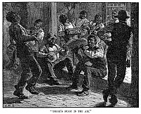 0092033 © Granger - Historical Picture ArchiveBLACK MUSICIANS, 1879.   'There's music in the air.' A group of black musicians performing in the street in Atlanta, Georgia. Wood engraving, American, 1879, after Arthur Burdett Frost.
