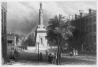 0037930 © Granger - Historical Picture ArchiveBALTIMORE, MARYLAND, 1838.   The Battle Monument on Calvert Street. Steel engraving, American, 1838.