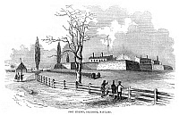 0267702 © Granger - Historical Picture ArchiveFORT McHENRY, c1850.   Fort McHenry at Locust Point in Baltimore, Maryland. Wood engraving, American, c1850.