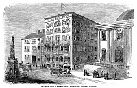 0267713 © Granger - Historical Picture ArchiveBALTIMORE: MONUMENT SQUARE.   The Gilmore House in Monument Square, Baltimore, Maryland. Engraving, American, 1860.